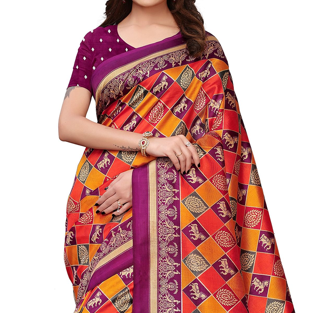 Stunning Rani Pink-Multi Colored Festive Wear Printed Mysore Silk Saree