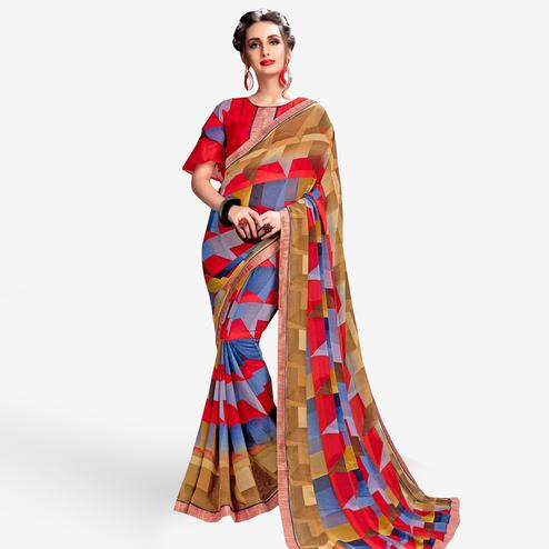 Jazzy Multi Colored Casual Wear Printed Georgette Saree