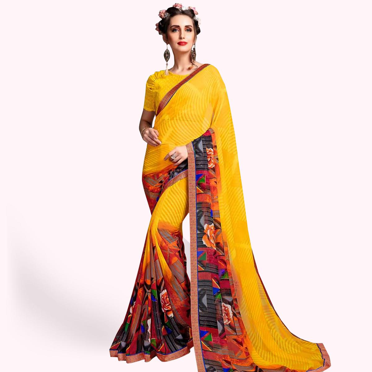 Capricious Yellow Colored Casual Wear Printed Georgette Saree