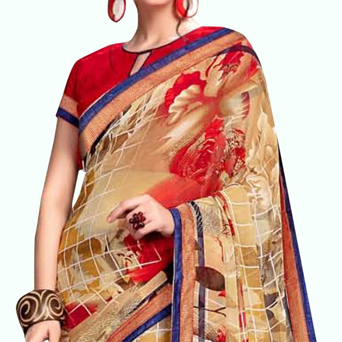 Groovy Beige - Red Colored Casual Wear Printed Georgette Saree