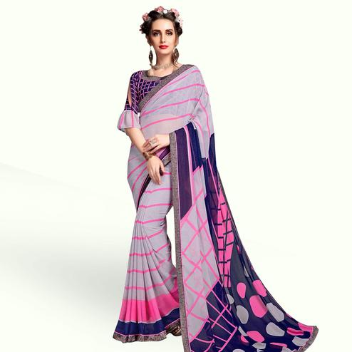 Prominent Grey Colored Casual Wear Printed Georgette Saree