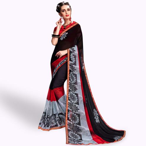 Innovative Black Colored Casual Wear Printed Georgette Saree