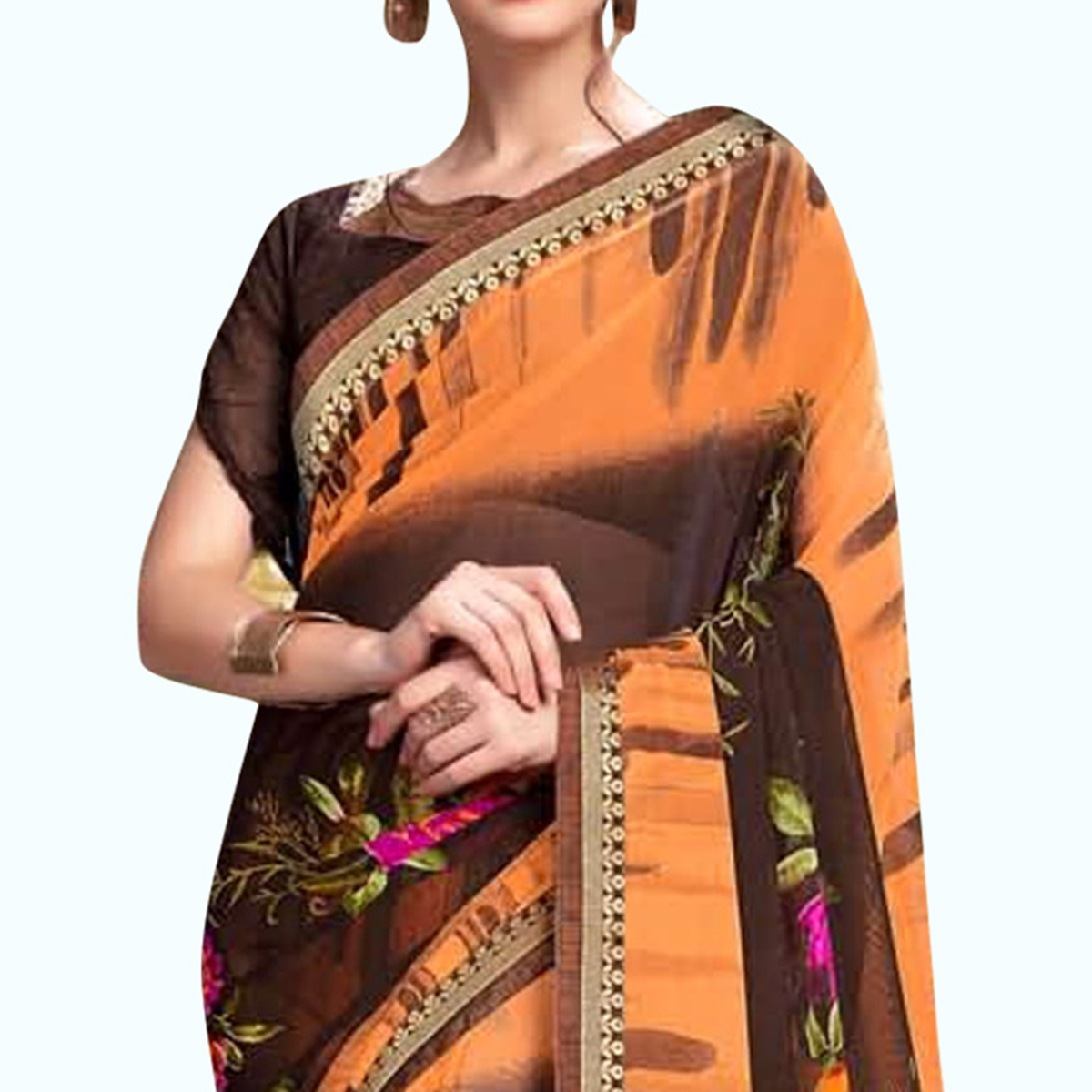 Energetic Brown - Orange Colored Casual Wear Printed Georgette Saree