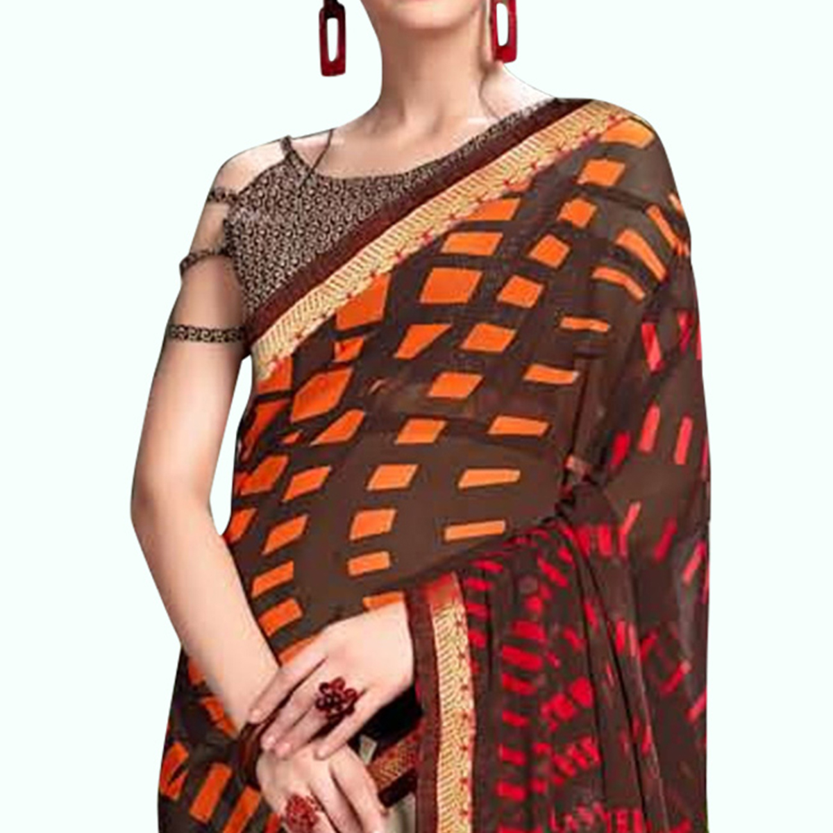 Glowing Brown - Beige Colored Casual Wear Printed Georgette Saree