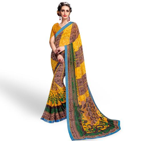 Exceptional Yellow Colored Casual Wear Printed Georgette Saree