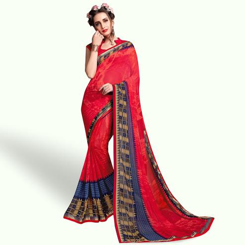 Gleaming Red Colored Casual Wear Printed Georgette Saree