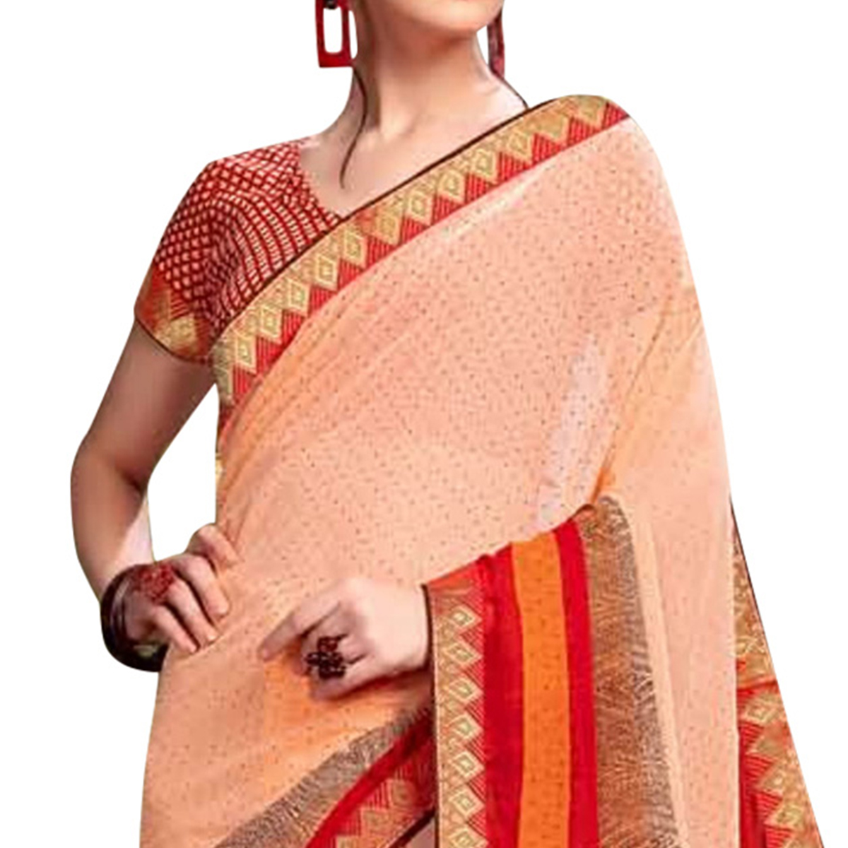 Mesmeric Peach Colored Casual Wear Printed Georgette Saree