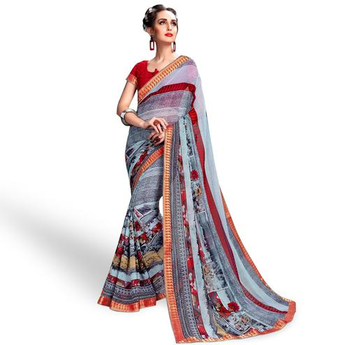 Unique Grey Colored Casual Wear Printed Georgette Saree