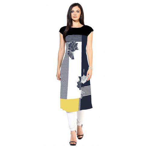Lovely White-Blue Colored Casual Printed Crepe Kurti