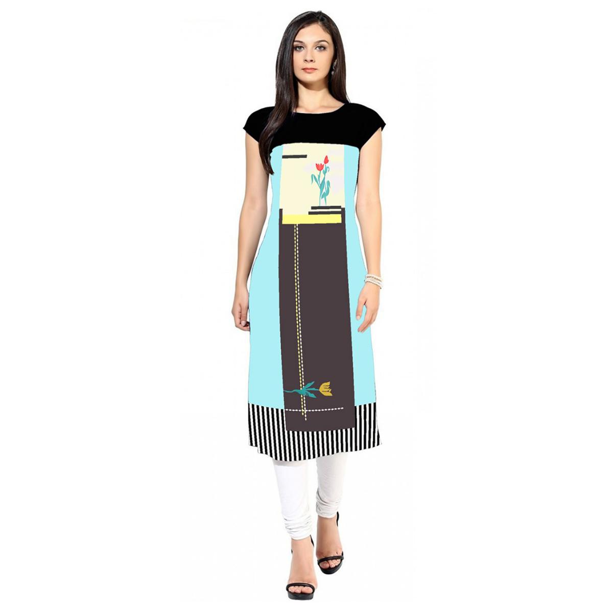 Demanding Sky Blue-Multi Colored Casual Printed Crepe Kurti