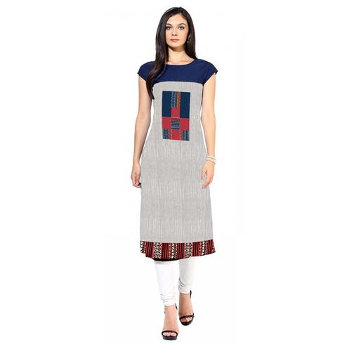 Eye-Catching Gray Colored Casual Printed Crepe Kurti