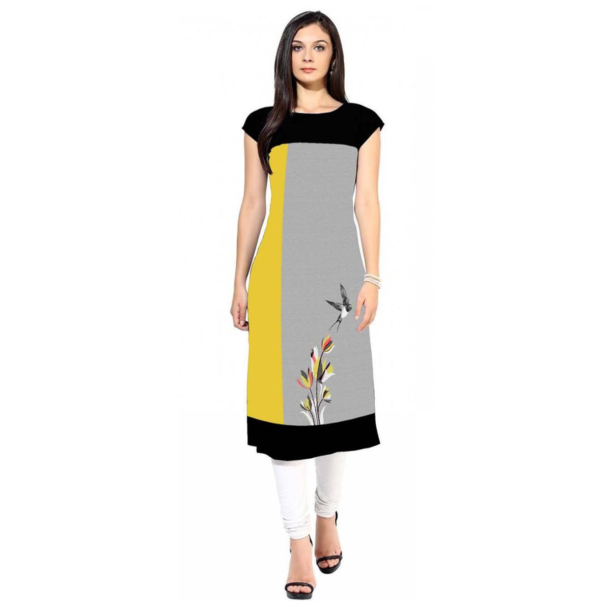 Trendy Gray-Yellow Colored Casual Printed Crepe Kurti