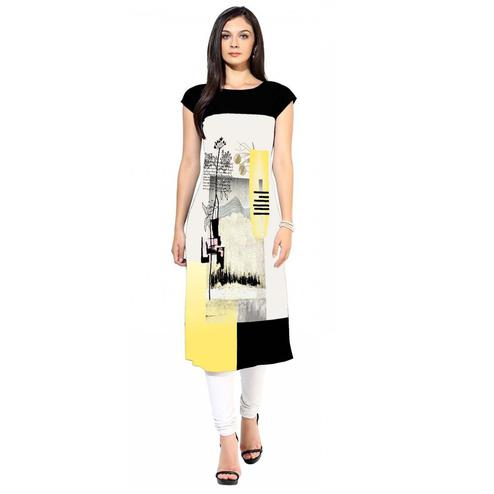 Appealing White Colored Casual Printed Crepe Kurti