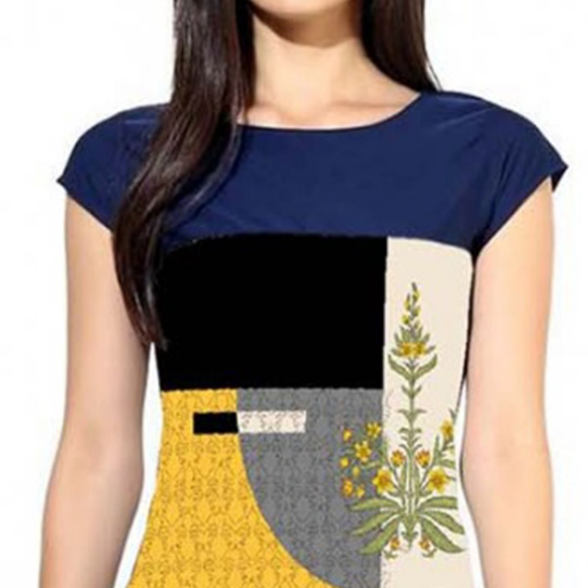 Impressive Yellow Colored Casual Printed Crepe Kurti