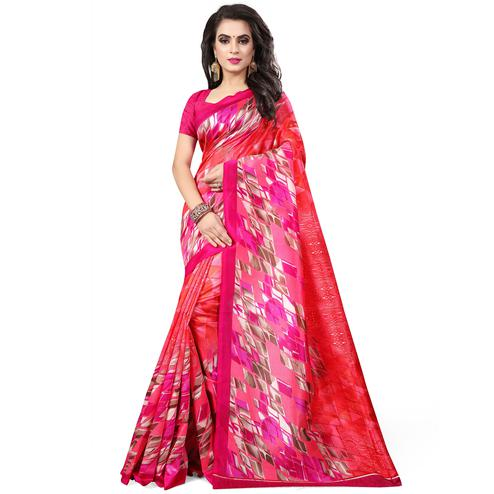 Arresting Red Colored Casual Wear Printed Bhagalpuri Silk Saree