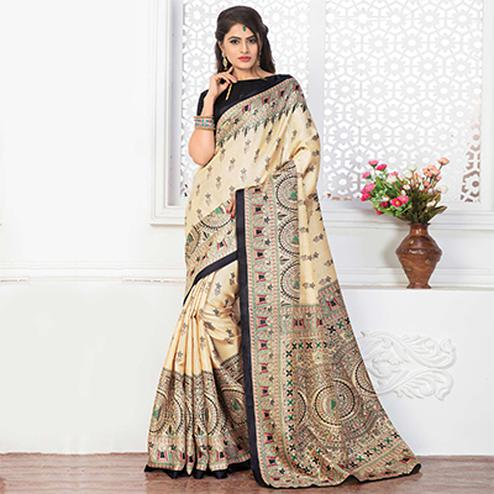 Beige - Black Casual Printed Bhagalpuri Silk Saree