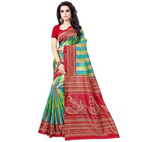 Desirable Green - Red Colored Casual Wear Printed Bhagalpuri Silk Saree