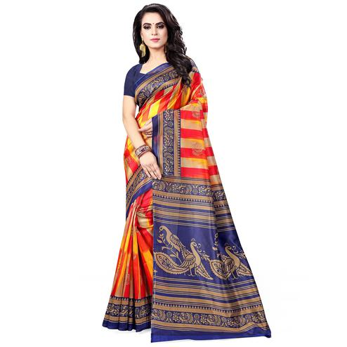Breathtaking Red - Blue Colored Casual Wear Printed Bhagalpuri Silk Saree