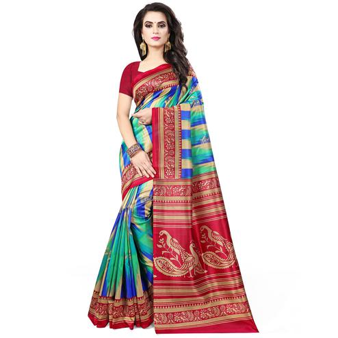 Impressive Green - Red Colored Casual Wear Printed Bhagalpuri Silk Saree
