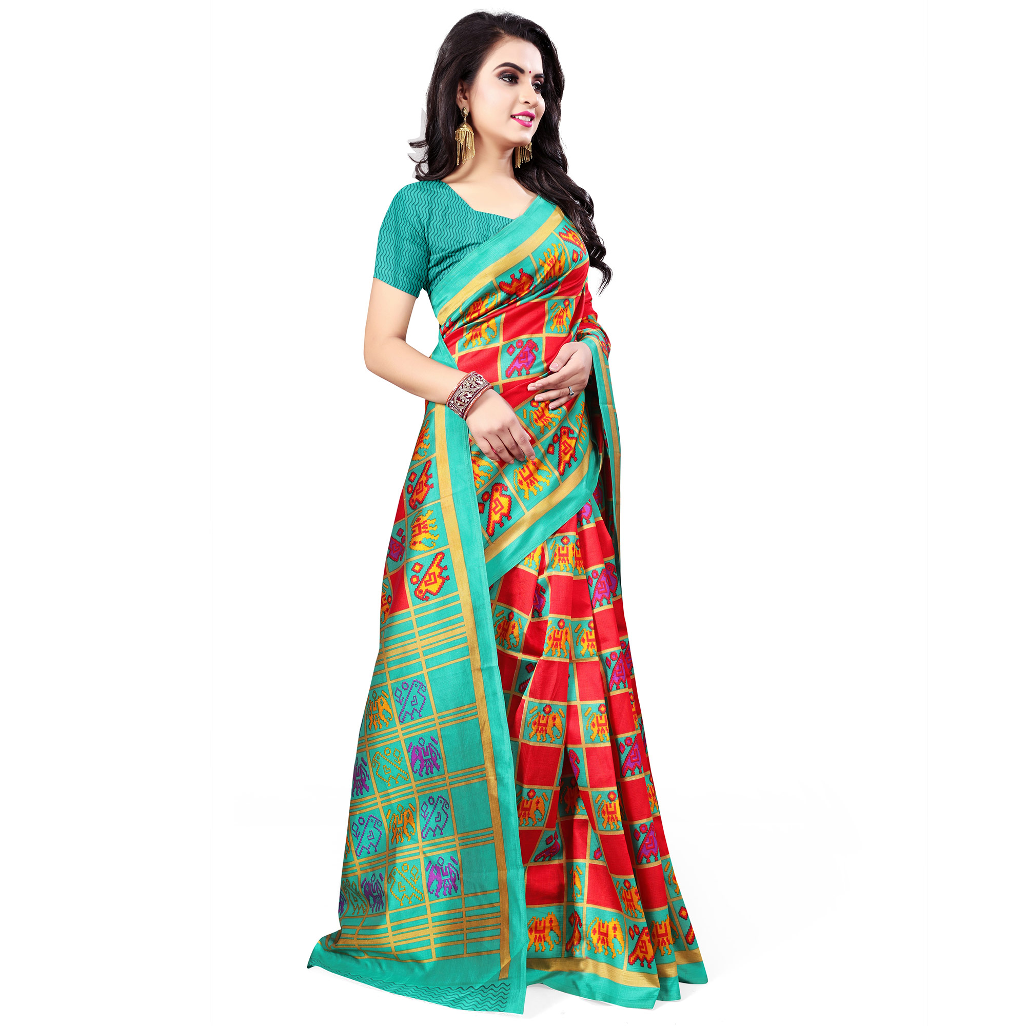 Gleaming Red - Turquoise Green Colored Casual Wear Printed Bhagalpuri Silk Saree