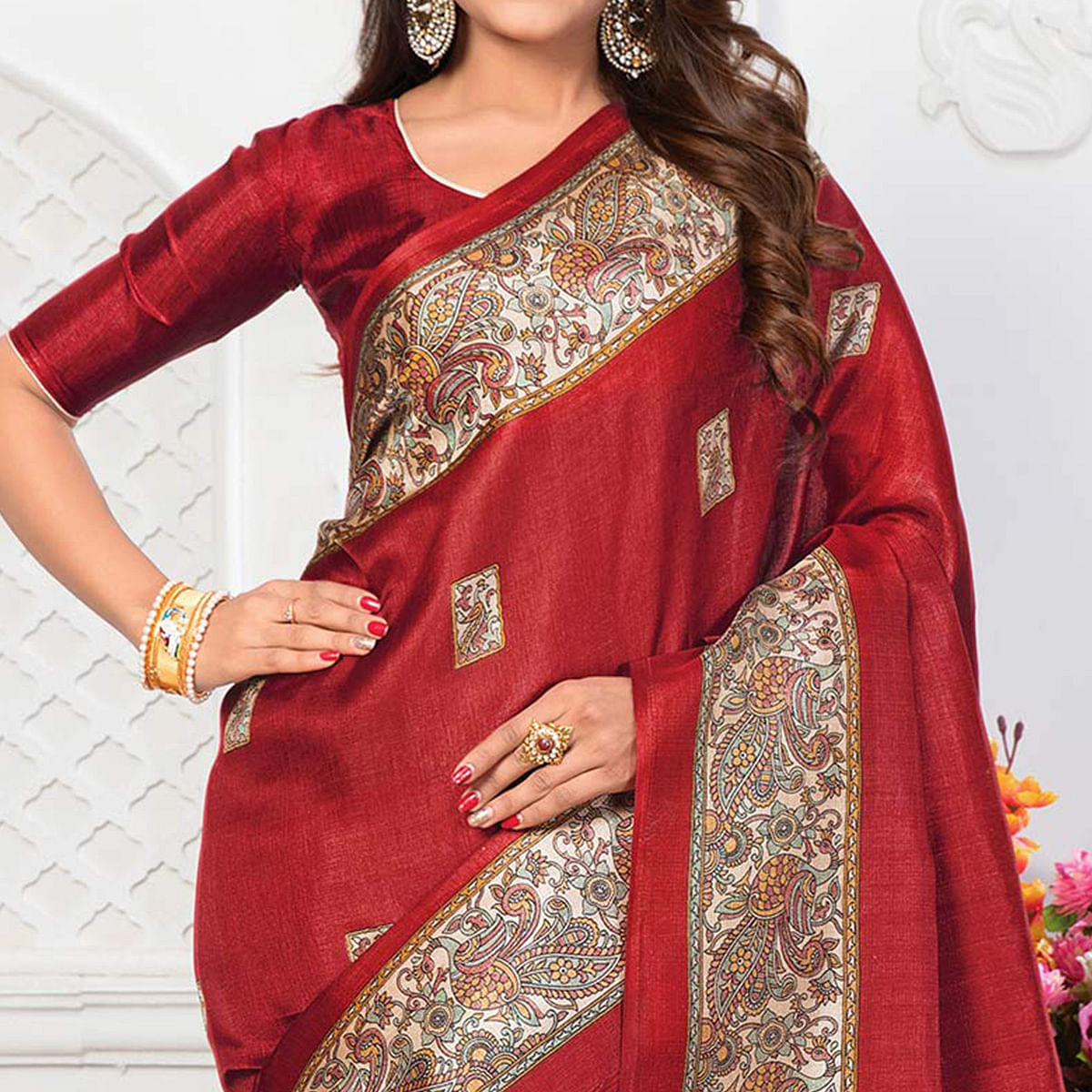 Red Casual Printed Bhagalpuri Silk Saree