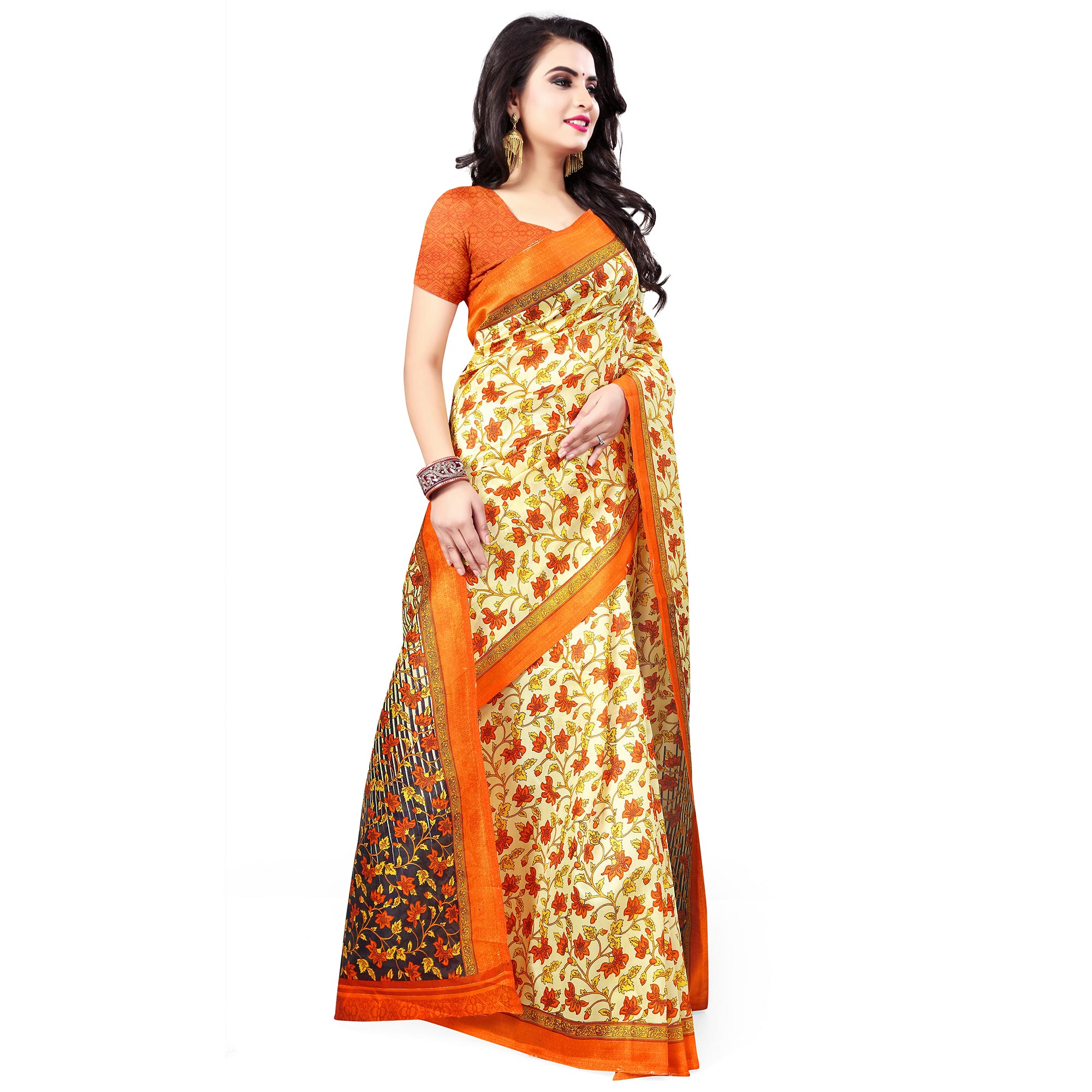 Unique Light Yellow Colored Casual Wear Printed Bhagalpuri Silk Saree