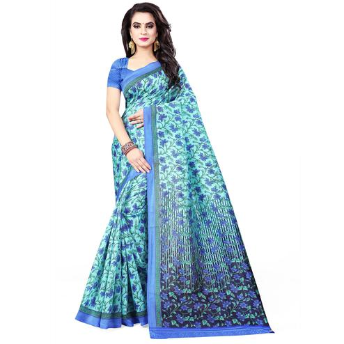 Magnetic Sky Blue Colored Casual Wear Printed Bhagalpuri Silk Saree