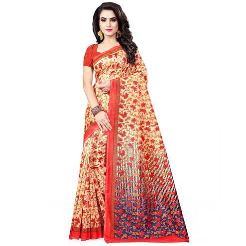 Sensational Beige Colored Casual Wear Printed Bhagalpuri Silk Saree