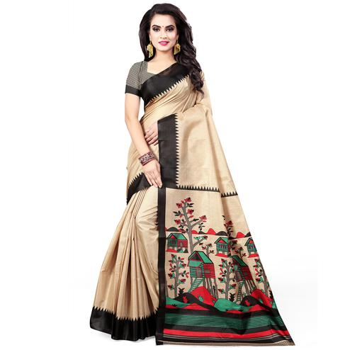 Energetic Beige - Black Colored Casual Wear Printed Art Silk Saree