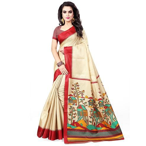 Glowing Beige - Red Colored Casual Wear Printed Art Silk Saree