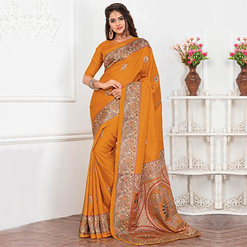 Yellow Casual Wear Printed Bhagalpuri Silk Saree