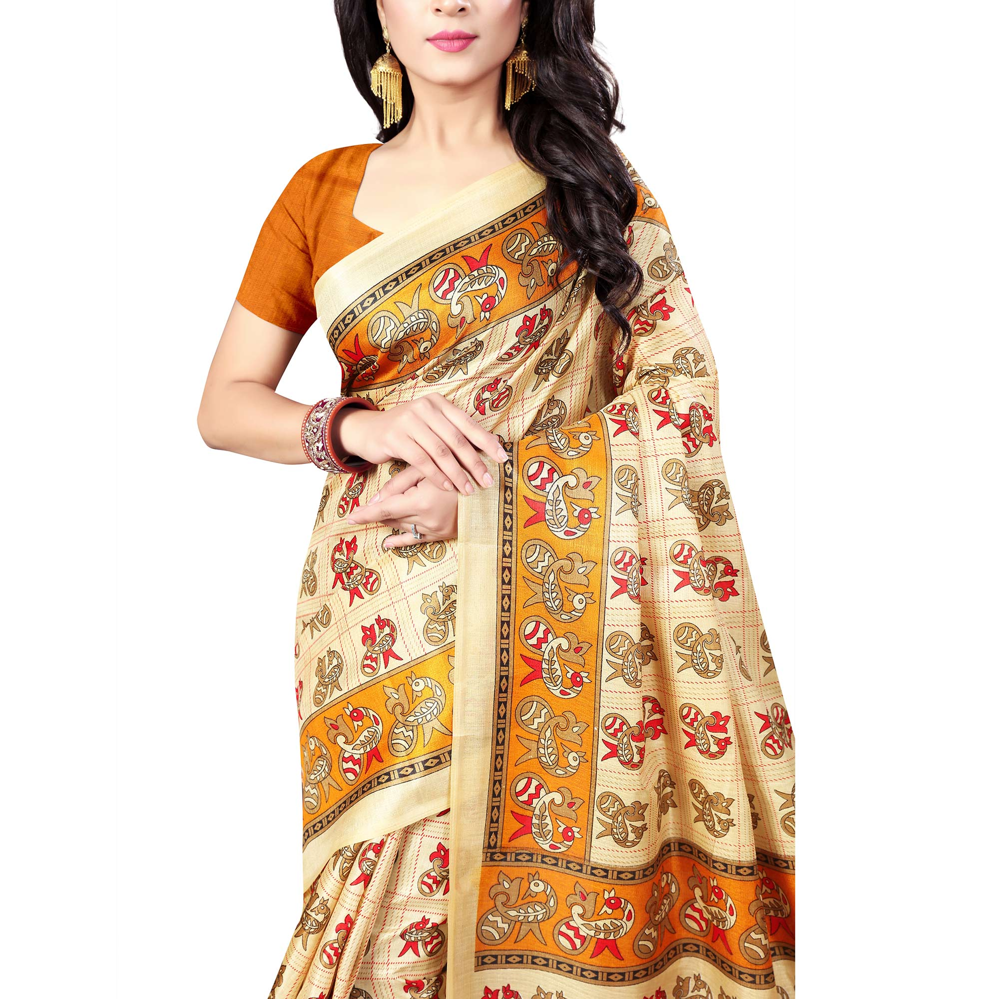 Exceptional Beige Colored Casual Wear Printed Art Silk Saree