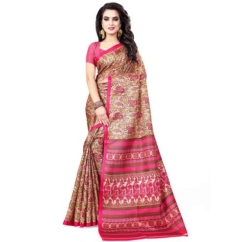 Refreshing Light Brown - Pink Colored Casual Wear Printed Art Silk Saree