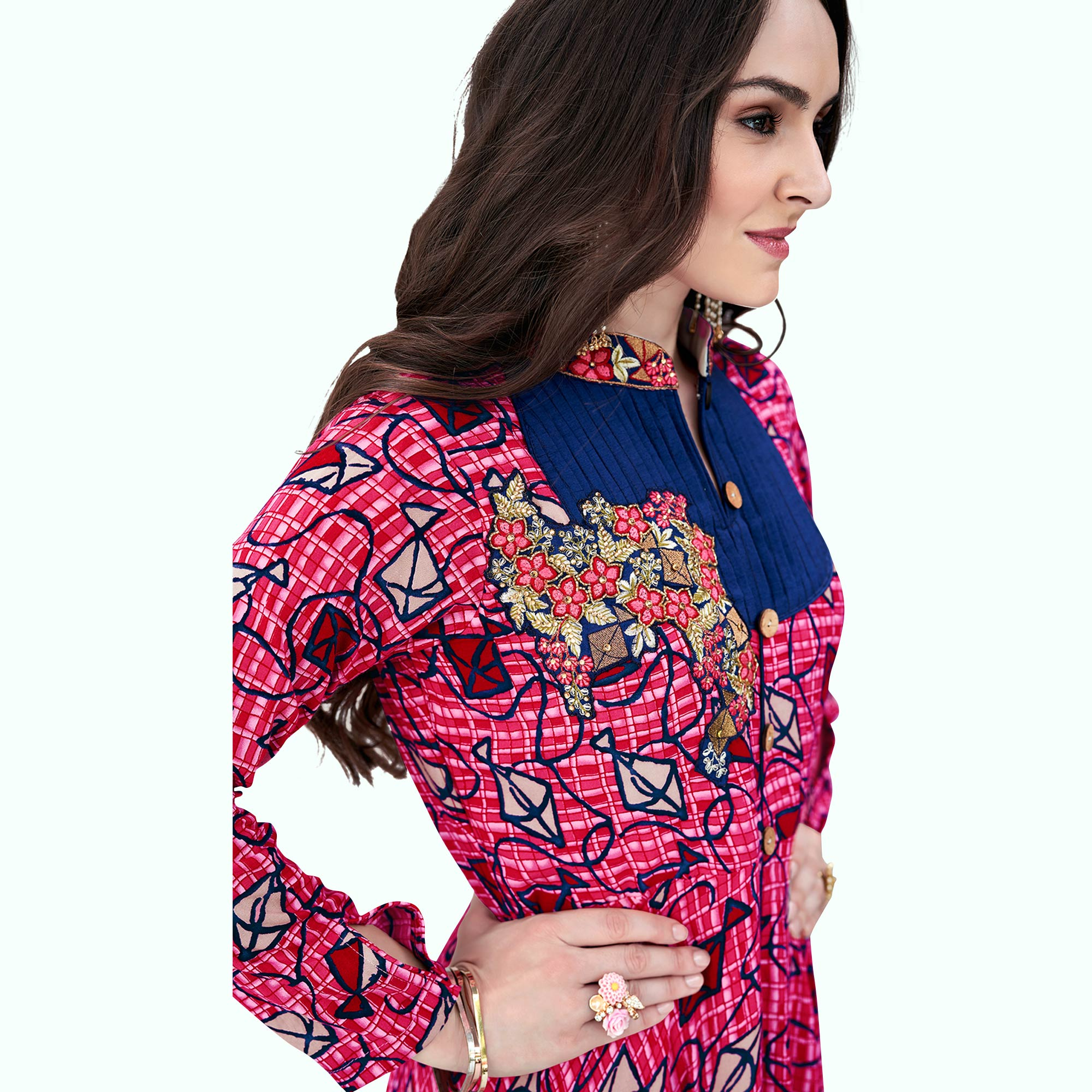 Attractive Pink Colored Party Wear Printed Rayon Gown