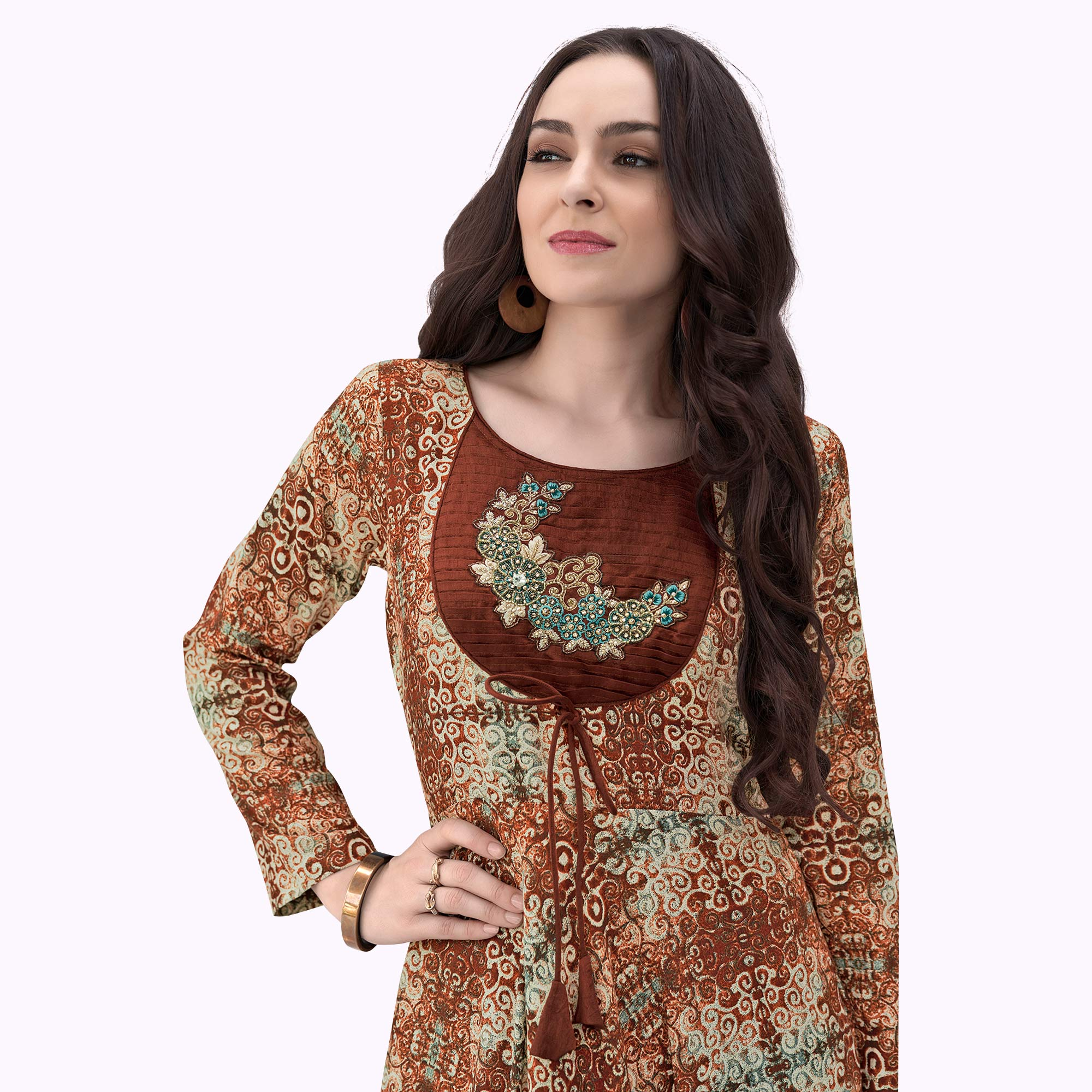 Charming Brown Colored Party Wear Printed Rayon Gown