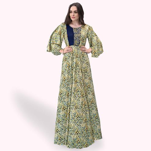 Blissful Light Olive Green Colored Party Wear Printed Rayon Gown