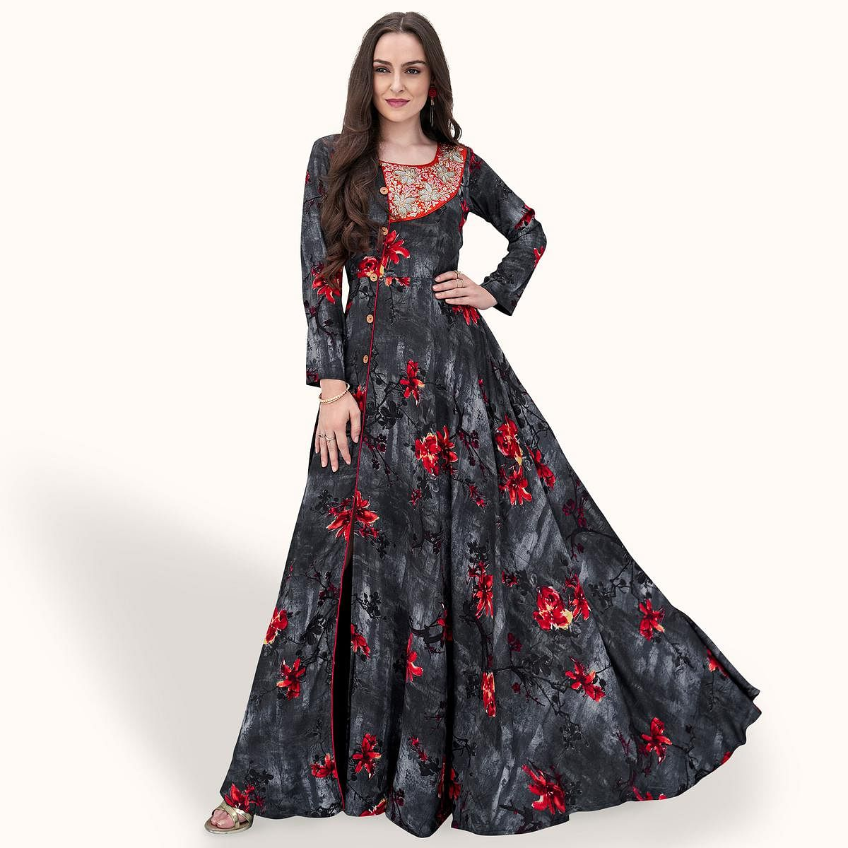 9a2b065c0a1 Buy Blooming Black-Grey Colored Party Wear Printed Rayon Gown Online India
