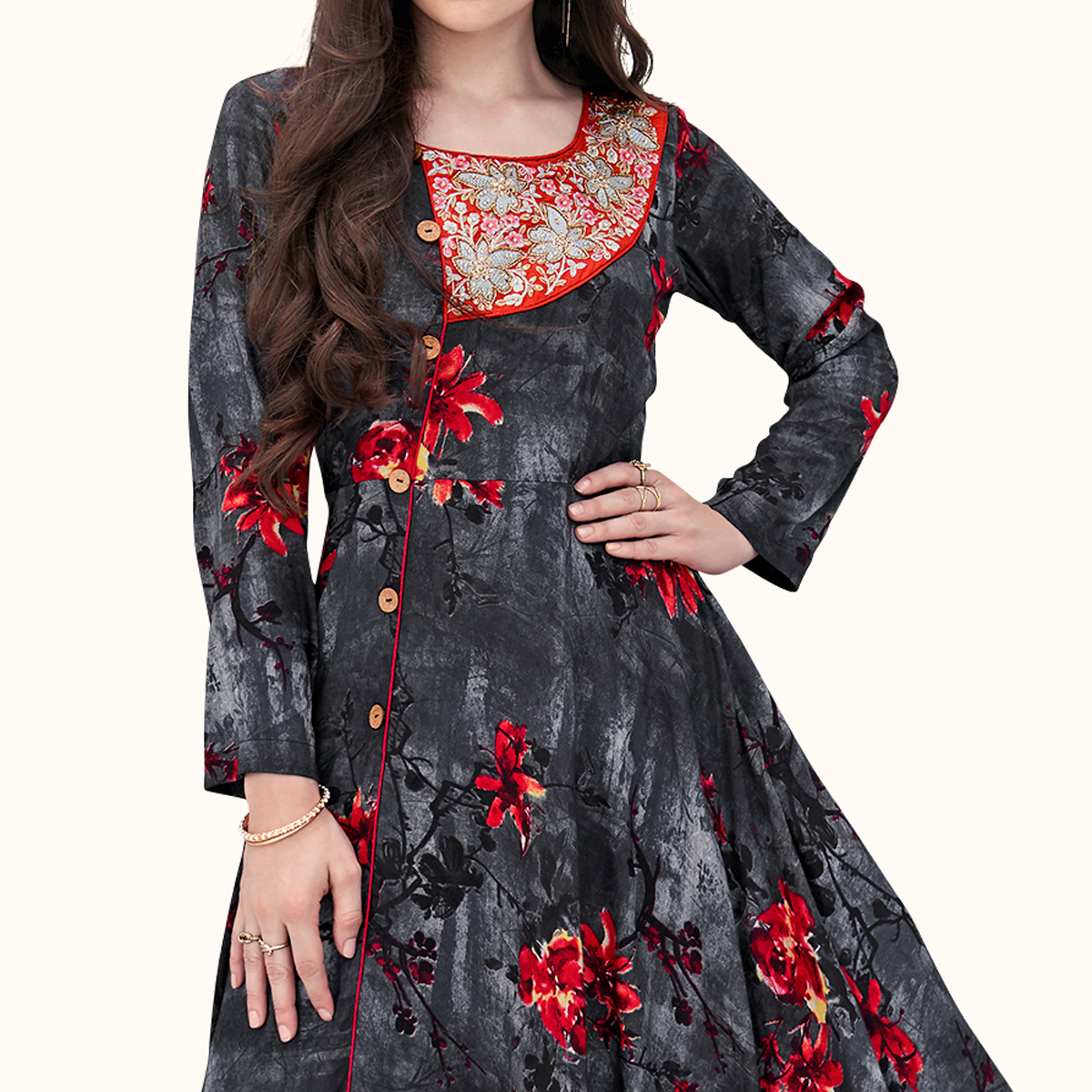 Blooming Black-Grey Colored Party Wear Printed Rayon Gown