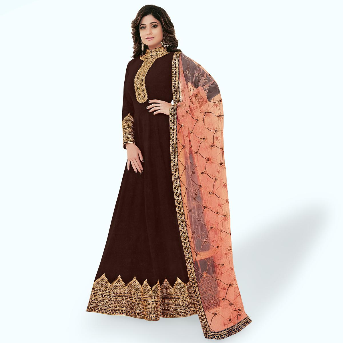 Amazing Brown Colored Party Wear Embroidered Georgette Anarkali Suit