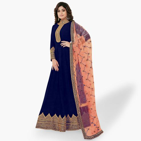 Prominent Blue Colored Party Wear Embroidered Georgette Anarkali Suit