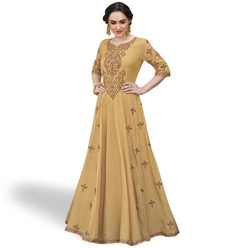 Radiant Beige Colored Party Wear Embroidered Heavy Rayon Gown