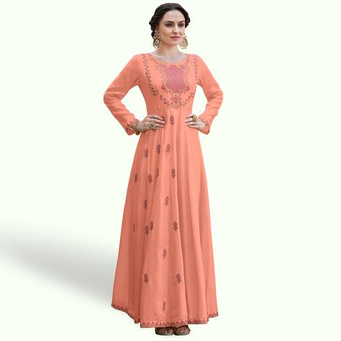 Pleasant Peach Colored Party Wear Embroidered Heavy Rayon Gown