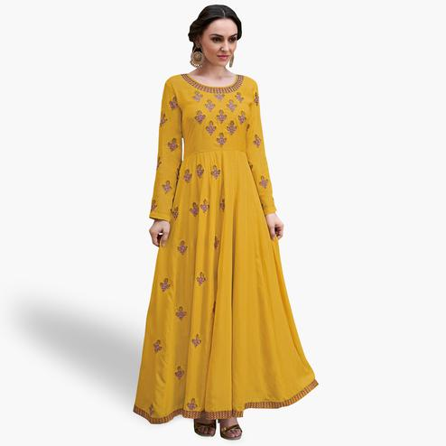 Opulent Mustard Yellow Colored Party Wear Embroidered Heavy Rayon Gown