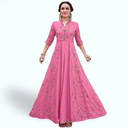 Glowing Pink Colored Party Wear Embroidered Heavy Rayon Gown