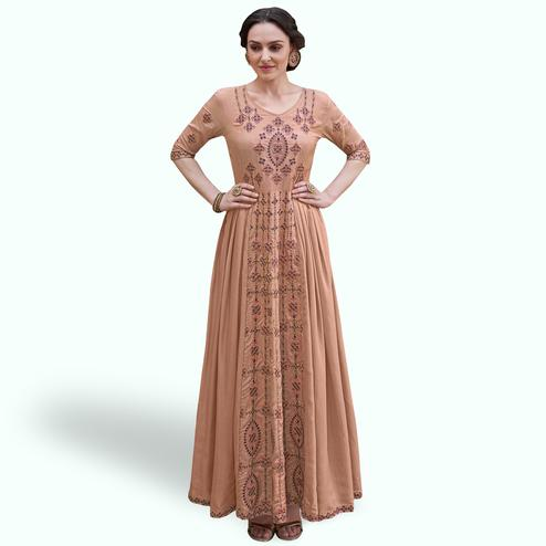 Exceptional Brown Colored Party Wear Embroidered Heavy Rayon Gown