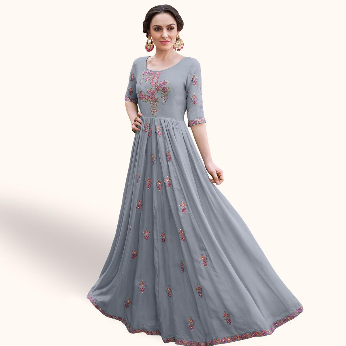 Mesmeric Grey Colored Party Wear Embroidered Heavy Rayon Gown
