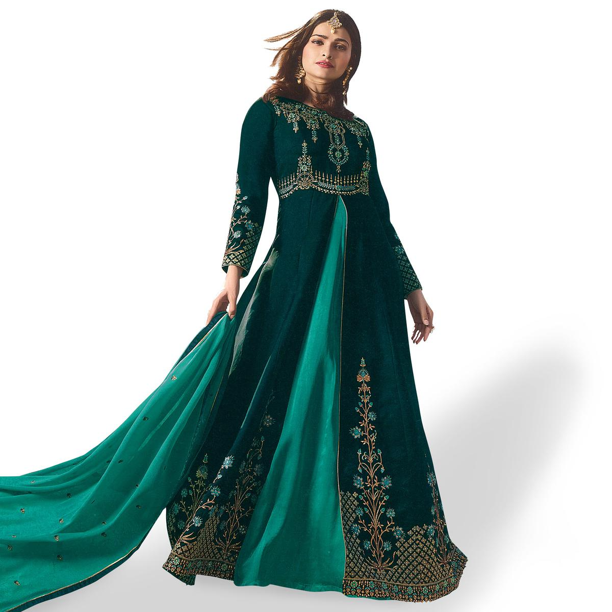 Demanding Dark Teal Green Colored Party Wear Embroidered Georgette Anarkali Suit