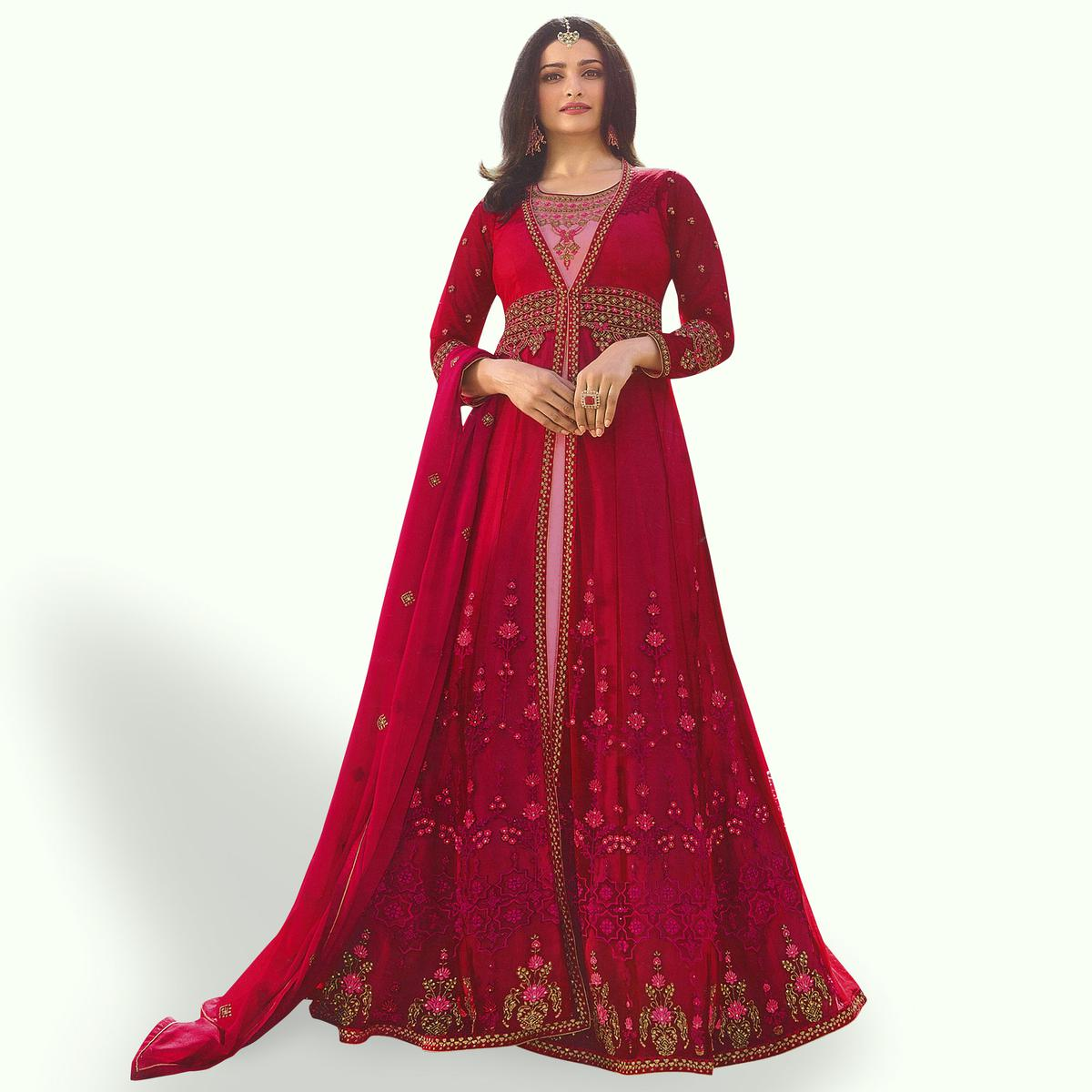 Refreshing Red - Pink Colored Party Wear Embroidered Georgette Anarkali Suit
