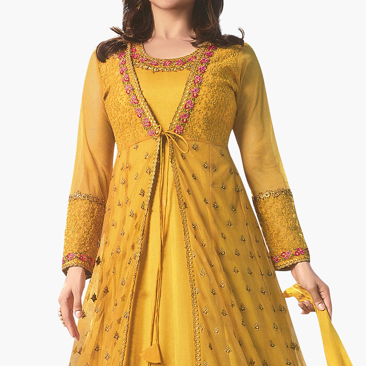 Magnetic Yellow Colored Party Wear Embroidered Georgette Anarkali Suit