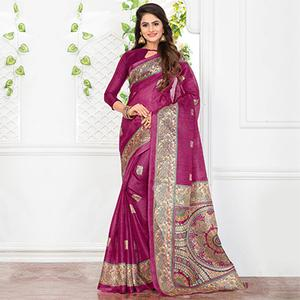 Pink Casual Wear Printed Bhagalpuri Silk Saree